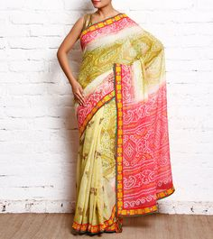 Multicoloured Kota Tissue With Bird Block Print & Bandhani Palla Saree