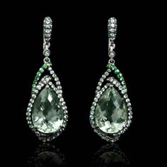 Firenze Jewels- Green Amethyst,Tourmalines,Sapphires,18K white Gold dangle earrings.