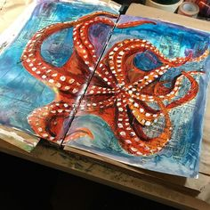 This is coming together and I think Im going to have fun with this exploration #seacreatures .@thestromboshow @houseofstrombo @strombo #artjournal #sundayinthestudio