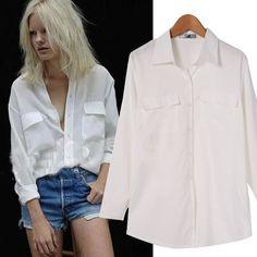 Fashion Women's Long Sleeve Lapel Collar Front Button Pockets Tops Shirt Long Blouse White