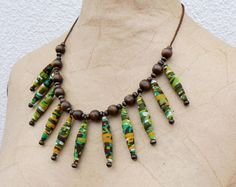 Ethnic choker fabric necklace green by MotuProprio on Etsy, $21.00