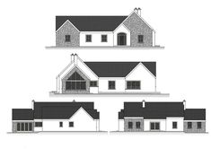 This dual aspect design incorporates the clients wishes for a split level dwelling that includes a functional courtyard while maintaining traditional form on the elevations facing the public roads. Dormer Bungalow, Bungalow Floor Plans, Modern Bungalow House, Bungalow Exterior, House Floor Plans, House Designs Ireland, Old School House, House Extensions, Building A House
