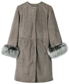 ShopStyle: Adore Lara Mouton Leather Coat