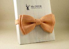 Light Orange Bow Tie  Ready Tied Bow Tie  Adult by MrDEERbowtie