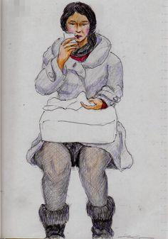 ライトグレーのコートのお姉さん(通勤電車でスケッチ) This is a woman of sketch wearing a gray coat. I drew in a commuter train.