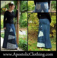 Denim lace patchwork