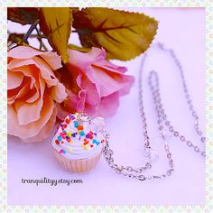 Sprinkle Cupcake Necklace Clay Necklace   by tranquilityy on Etsy