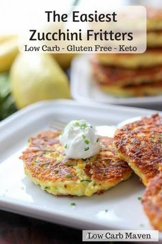 Low carb food - low carb zucchini fritters are completely versatile for low carb breakfast, lunch, dinner or a snack. Keto snacks for Ketogenic diet. Healthy Recipes, Veggie Recipes, Low Carb Recipes, Cooking Recipes, Low Carb Zucchini Recipes, Salad Recipes, Snack Recipes, Side Recipes, Veggie Food