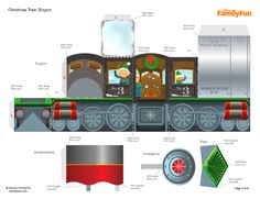 Blog Paper Toy Christmas Papercraft Train template preview Christmas Train Papercraft