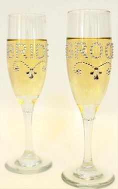 Make Bride and Groom champagne glasses from your local Goodwill store! www.goodwillvalleys.com/shop
