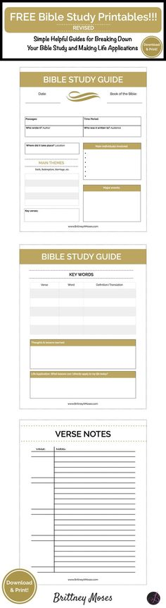 "FREE Printable Alert!: ""A couple of years ago I decided to put together a Printable Bible Study Guide...When the guides went viral, I was so encouraged to see how many people were invested in going deeper into the word. So I made some revisions to the original guide to make it that much cooler."" -Brittney Moses"