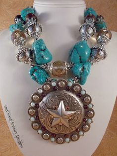 Cowgirl Necklace Set Chunky Aqua and Brown Howlite Turquoise - Crystal by Outwestjewelry