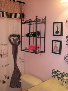 Black and pink Paris bathroom. Shower curtain and accessories from ...