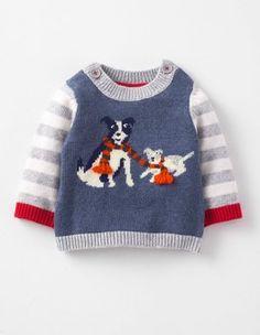 Washed Indigo Marl/Sheep Dogs Logo Jumper Boden