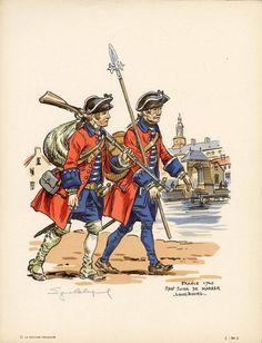 French; Swiss Infantry Regiment de Karrer, Louisbourg, 1740 by E.Leliepvre