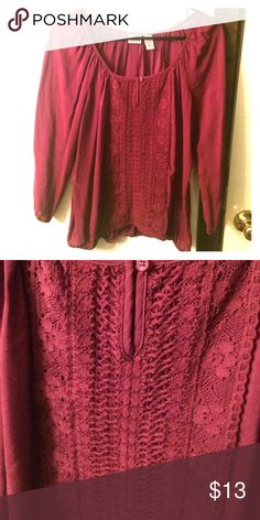 Mudd Peasant Shirt from JC Penney Size large, burgundy in color, worn twice! Mudd Tops Tunics