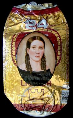 """For the past ten years Philadelphia-based artist Kim Alsbrooks has been painting miniature portraits on trash. Her series """"My White Trash Family"""" began when she became interested in historical biases in art, and specifically portraits painted during the watercolor on ivory era (17th-18th century)."""