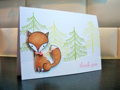 Fox Thank You Card Winter Thank You Card by apaperaffaire on Etsy, $4.00