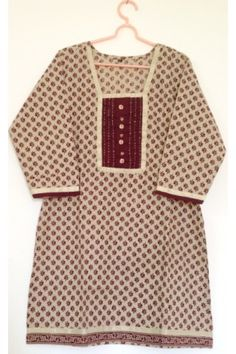 #CottonKurti - Maroon Busy Printed Cream Coloured