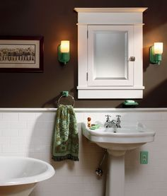 Arts & Crafts Baths:  Subway Tile Wainscot.