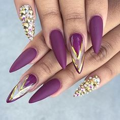 # Gorgeous Purple Pointy and Studded Nails