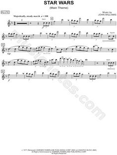 "star wars tin whistle sheet music | ""Star Wars (Main Theme) - Flute"" from 'Star Wars' Sheet Music (Flute ..."