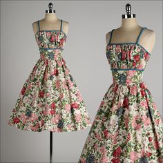 vintage 1950s dress . colorful floral cotton by millstreetvintage, $185.00