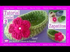 """Zapatitos Bebé a Crochet """"Abril"""" (Parte 1) Merceditas Subtitles English & Deutsch - YouTube"""