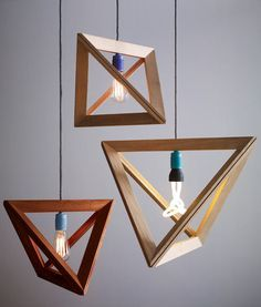 The geometric-shaped Lampframe pendants are made from thin wood strips that are joined together to form triangular frames. The overall shape is formed when four of those frames are connected and then clamp around the lamp cord with the aid of magnets. Made by German designer Herr Mandel, the lights are not about hiding the bulb but rather showcasing it, as you would a picture in a frame.