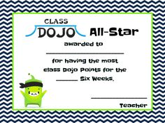 Fifth Grade Dugout: Class Dojo Award Certificate Can combine this with scratch off reward cards for each six weeks 6th Grade Activities, Teaching 5th Grade, 5th Grade Classroom, School Classroom, Classroom Ideas, Educational Activities, Classroom Discipline, Classroom Behavior, Classroom Management