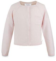 BABY DIOR - Colete em malha tricô rosa pó