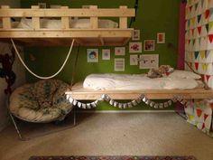 DIY Daybed: Decorating Your Bedroom : DIY Hanging Daybed By Design. So cool for a kids room. Pallet Daybed, Diy Daybed, Daybed Ideas, Hanging Beds, Diy Hanging, Hanging Chairs, Ceiling Hanging, Diy Toddler Bed, Pallet Toddler Bed