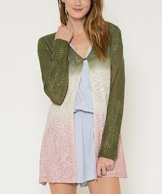 This Pink & Olive Ombré Open-Knit Cardigan is perfect! #zulilyfinds