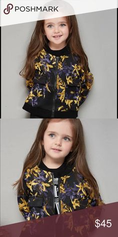 Black & gold floral pattern baseball jacket/blazer Cute and fashionable baseball jacket for little girls! Front zipper closure and 2 pockets. Material: 65% cotton, 35% spandex.  Size: 90CM ( fits like 3T) Jackets & Coats Blazers