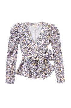 Sculpted statement sleeves and a waist defining sash lend some edge to the La Vie Pansies Print Poplin Top.