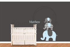 Elephants  Wall Decal - Carters Theme Wall Vinyl - Nursery Children Decoration - Without NAME