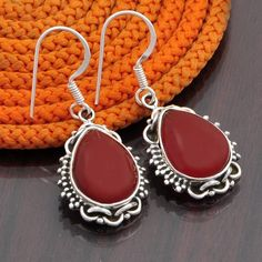 NEW DESIGNER 925 STERLING SILVER RED ONYX EARRING 7.37g DJER2717 #Handmade #EARRING