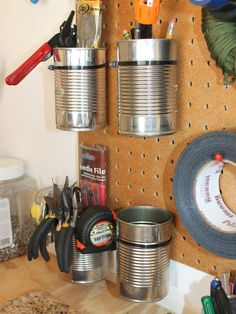 Storage and organization hacks abound when it comes to handymen . See more ideas about Tool storage, Workshop storage and Garage storage. Diy Garage Storage, Shed Storage, Tool Storage, Craft Storage, Storage Ideas, Storage Solutions, Storage Racks, Storage Systems, Ribbon Storage