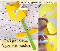 Tulipa de papel com lixa de unha | Pra Gente Miúda