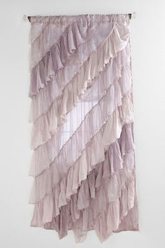 angled ruffle curtain in lilac. Shabby Chic Curtains, Diy Curtains, Window Coverings, Window Treatments, Ruffle Shower Curtains, Window Dressings, Curtain Designs, Decoration, Interior Decorating