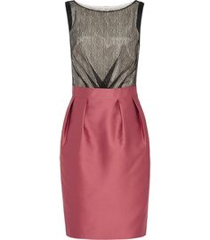 Carmen from Reiss. Pleated pencil skirt with single vent. Love the shiny pink with black lace.
