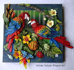 Feather and Foliage by Melissa Terlizzi, polymer clay, masa flexible, cold… r/Art - Polymer Clay Artist Melissa Terlizzi, Feb 736 × 696 Clay Art Projects, Polymer Clay Projects, Quilling Designs, Paper Quilling, Polymer Clay Kunst, Clay Wall Art, Clay Birds, Bird Sculpture, Clay Flowers