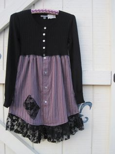 Boho Kleid Mini schwarz Tunika schwarz Babydoll von ShabyVintage