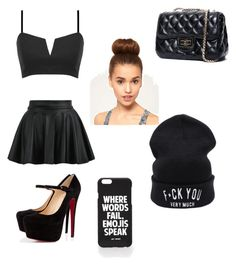 """""""all black"""" by knijahb ❤ liked on Polyvore featuring Christian Louboutin, Jac Vanek, women's clothing, women, female, woman, misses and juniors"""