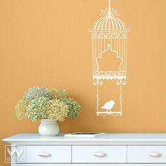 Bird On A Swing Vinyl Wall Decal Art Birdcage For Kitchen Nursery Room