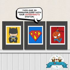 Cute superhero - Spiderman, Batman, Personalized Superman logo 5x7 Digital Art - Printable Art - Nursery Art - Kids Art - Superhero. $10.95, via Etsy.