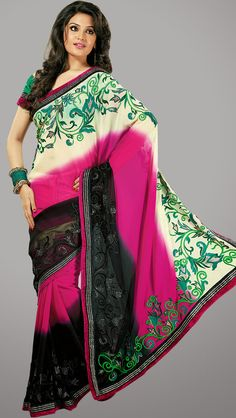 Classic Multi Faux Georgette and Net Party Wear Saree - IG9126 USD $ 83.42