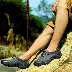 9b3c4b87550 Fashion Men Lycra Mesh Breathable Outdoor Shock Absorption Hiking Shoes -  NewChic Mobile  Hikingpants