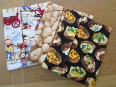Fun Microwave Bags for Use With Potatoes, Corn, Tortillas or Bread  Hand Sewn Using New Materials of Cotton Fabric, Thread and Batting Choose From Raw Potato Fabric Or  Baked Potato with Toppings Fabric  Or Fun Vintage Looking Cowboys Fabric Pre-Washed To Prevent Shrinkage Machine Wash And Dry - Touch Up With Iron If Necessary Smoke And Pet Free Home  This Is Not A Licensed Product. Some may be Hand-Crafted From Licensed Fabric. I Am Not Affiliated With Or Sponsored By the BBC, Disney…
