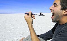 The world's largest salt flat, Salar de Uyuni, Bolivia. And yes, when I go here I will be taking many MANY cheesy photos!!